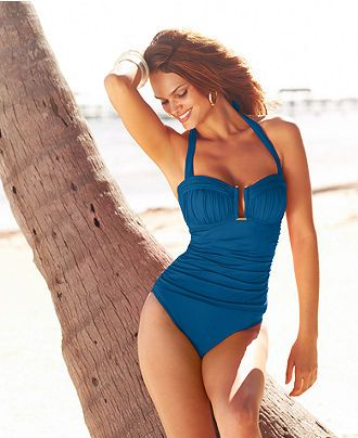 Bleu by Rod Beattie - Ruched Halter One-Piece