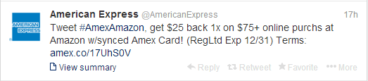 American Express Sync - Twitter Offers