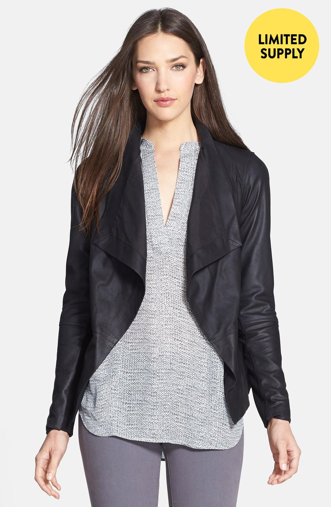 Vince Drape Neck Leather Jacket