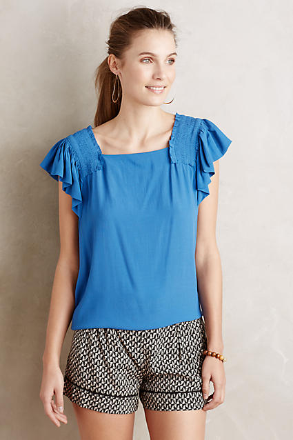 Epaulet Ruffle Top by Maeve at Anthropologie