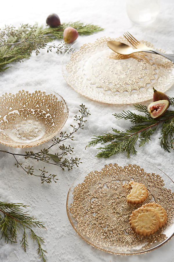Anthropologie Metallic Lace Plates Bowls